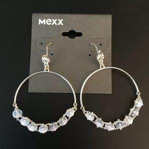 Delicate bead hoop earrings New Rare silver tone
